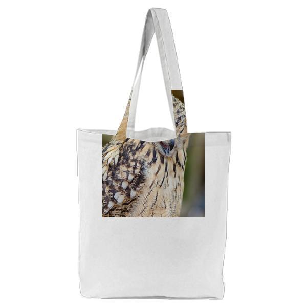 Brown And Black Feather Owl Tote Bag