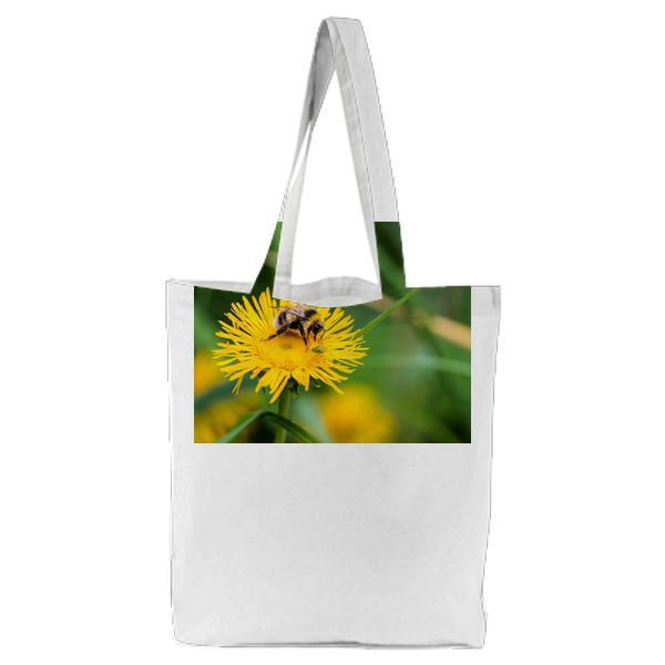 Bee Sipping On A Flower Nectar Tote Bag