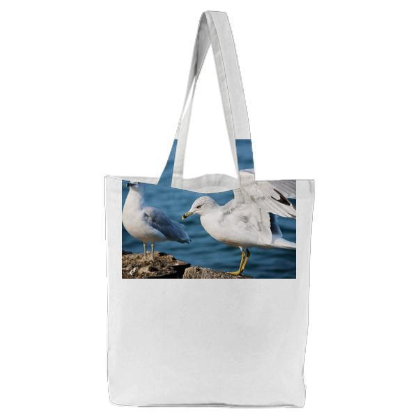 2 White Dove Standing On Brown Rock Near Body Of Water Tote Bag