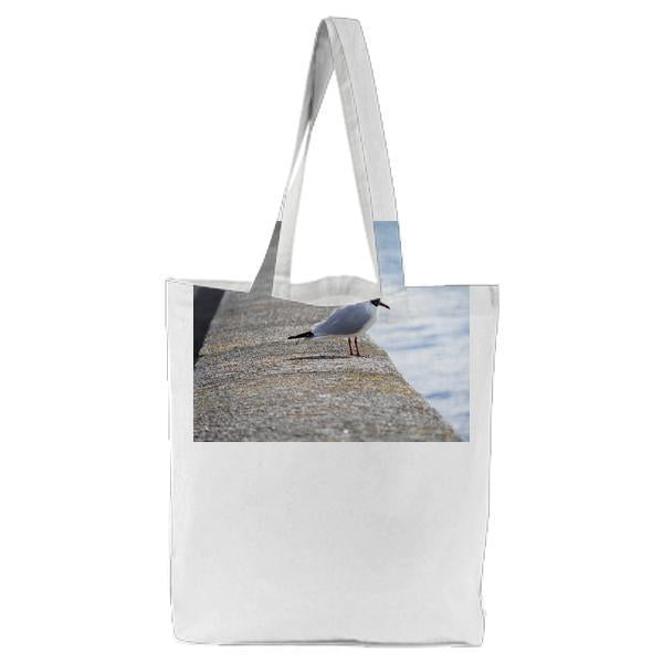 White Gray And Black Bird On Concrete Beside Blue Body Of Water During Daytime Tote Bag