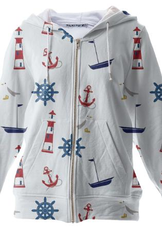 New England Nautical Zip Up Hoodie