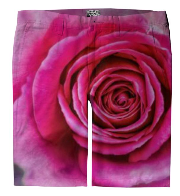Hot Pink Rose Closeup Trouser Shorts