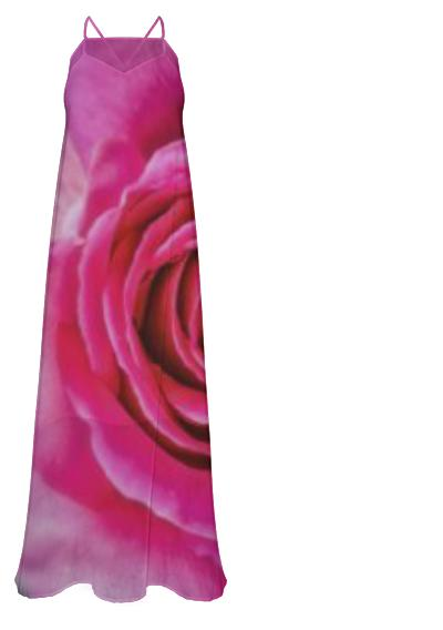 Hot Pink Rose Closeup Chiffon Maxi Dress