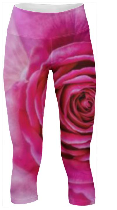 Hot Pink Rose Closeup Yoga Pants