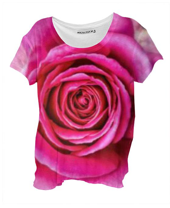 Hot Pink Rose Closeup Drape Shirt