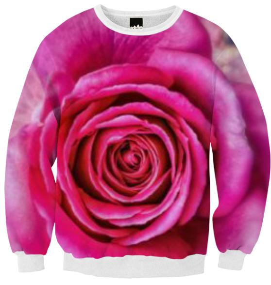 Hot Pink Rose Closeup Ribbed Sweatshirt