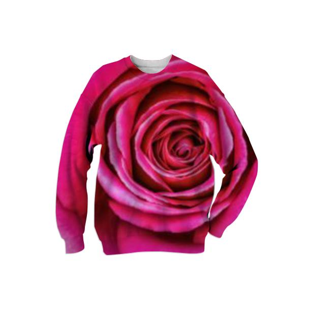 Hot Pink Rose Closeup Sweatshirt