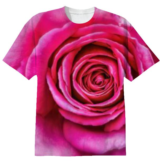 Hot Pink Rose Closeup T shirt