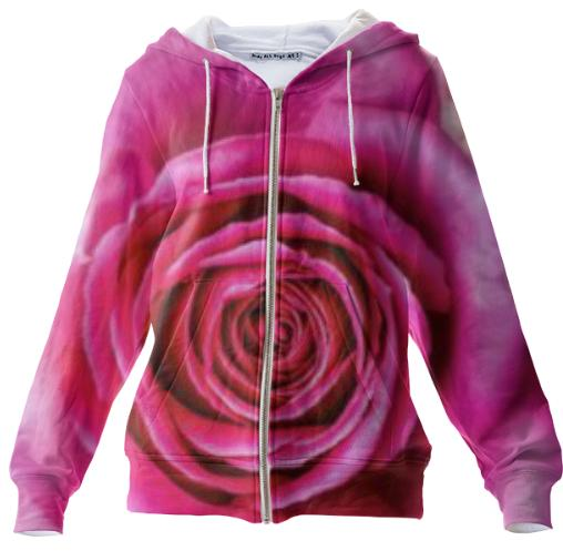 Hot Pink Rose Closeup Zip Up Hoodie