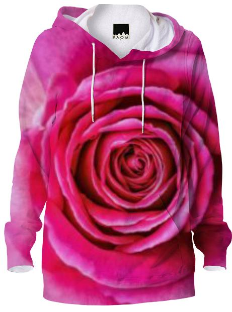 Hot Pink Rose Closeup Hoodie
