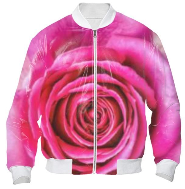Hot Pink Rose Closeup Bomber Jacket