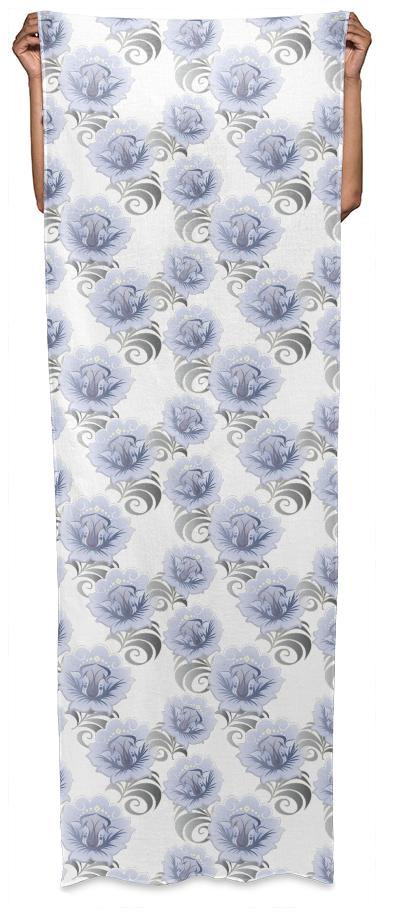 Abstract Blue Silver Large Flowers Long Scarf