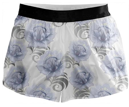 Abstract Blue Silver Large Flowers Running Shorts
