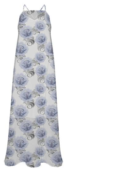 Abstract Blue Silver Large Flowers Long Dress