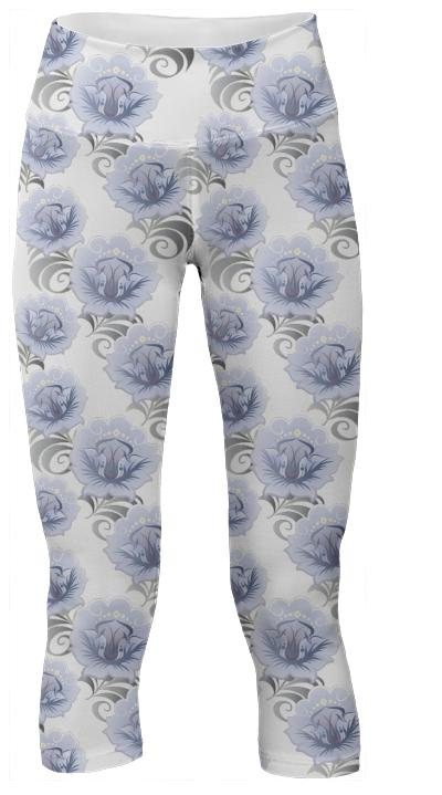 Abstract Blue Silver Large Flowers Yoga Pants