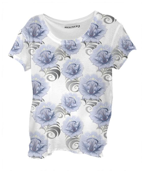 Abstract Blue Silver Large Flowers Drape Shirt