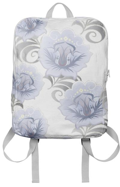 Abstract Blue Silver Large Flowers Backpack