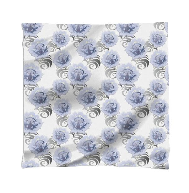 Abstract Blue Silver Large Flowers Scarf