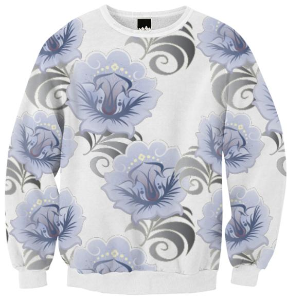 Abstract Blue Silver Large Flowers Ribbed Sweatshirt