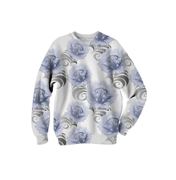 Abstract Blue Silver Large Flowers Sweatshirt