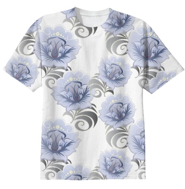 Abstract Blue Silver Large Flowers T shirt