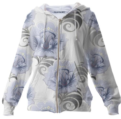 Abstract Blue Silver Large Flowers Zip Up Hoodie