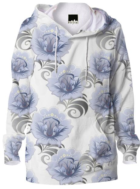 Abstract Blue Silver Large Flowers Hoodie