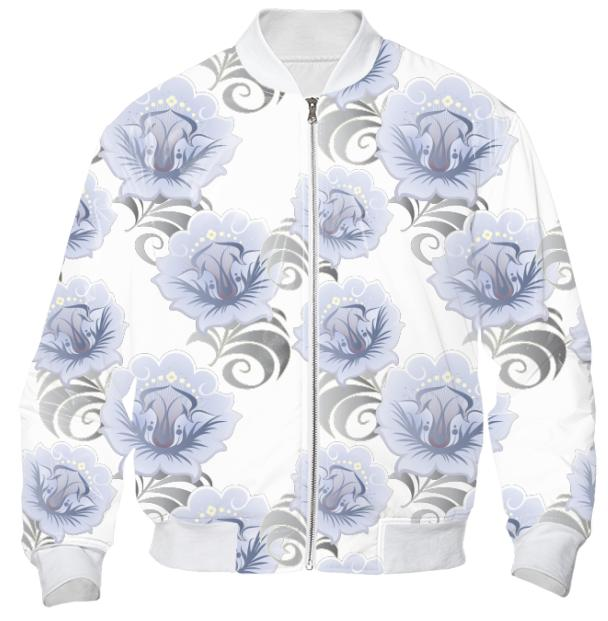Abstract Blue Silver Large Flowers Bomber Jacket