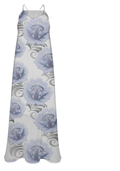 Abstract Blue Silver Larger Flowers Chiffon Maxi Dress
