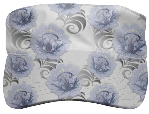 Abstract Blue Silver Large Flowers Visor