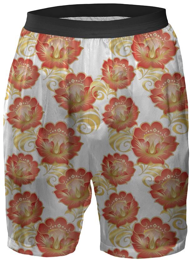 Large Abstract Flowers in Chinese Red Gold Boxer Shorts