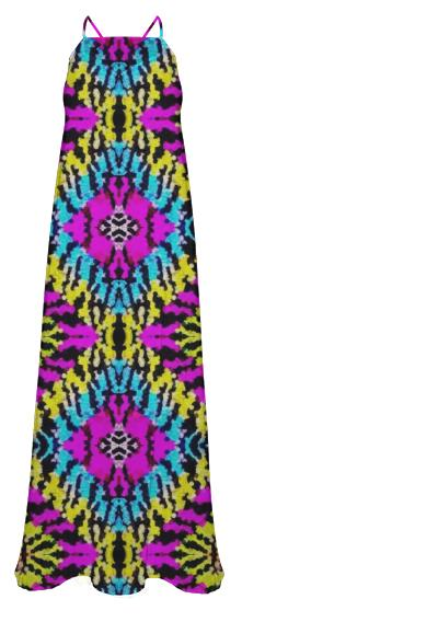 Florescent Yellow Pink Black Abstract Chiffon Maxi Dress