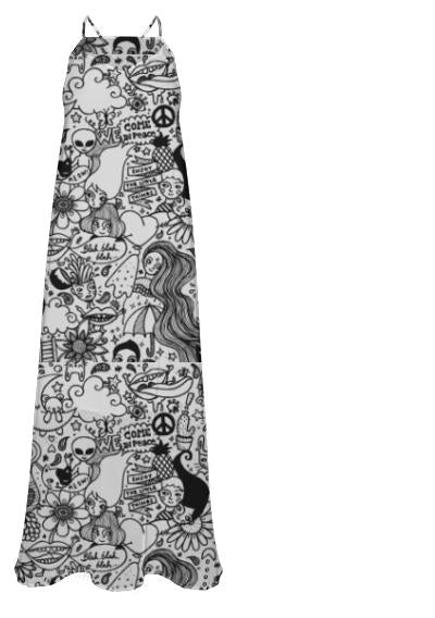 Doodles Chiffon Maxi Dress