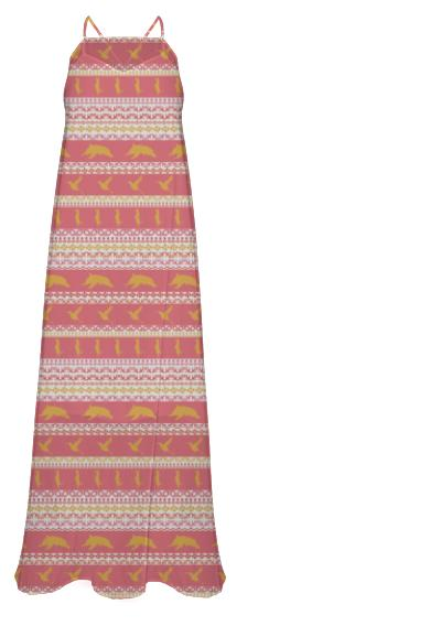 AZTEC Animal Parade Chiffon Maxi Dress