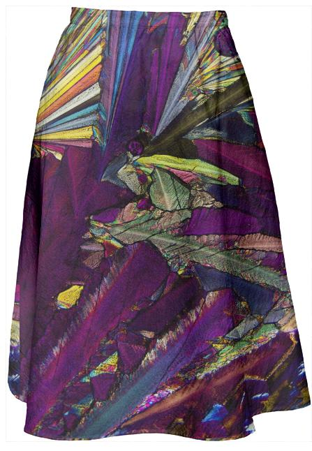 Psychedelic Crystal Midi Skirt