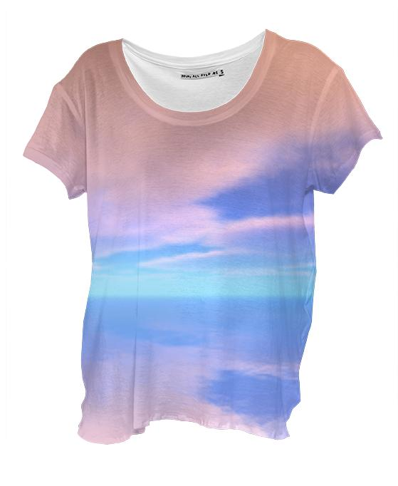 Dawn Clouds Reflected on Water Drape Shirt