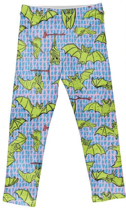 Kid s Leggings in Yellow Happy Bats on Pink with Blue Triangles