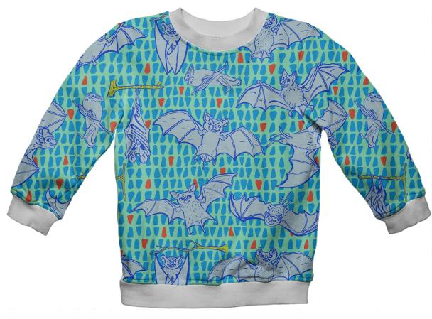 Kid s Sweatshirt in Blue Happy Bats on Mint and Orange Triangles
