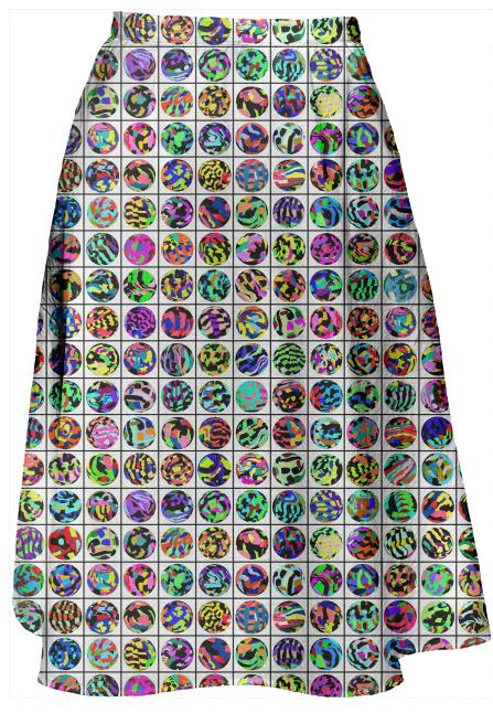 Midi Skirt in Dots and Grid