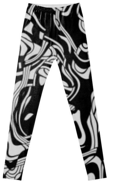 black and white abstract fancy leggings