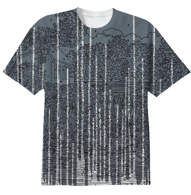 Abstract Waterfall Grey Drip T Shirt