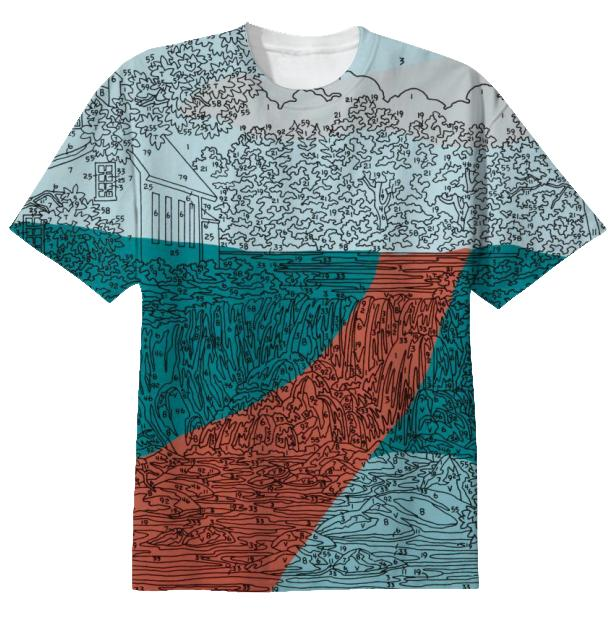 Abstract Waterfall Orange Road T Shirt