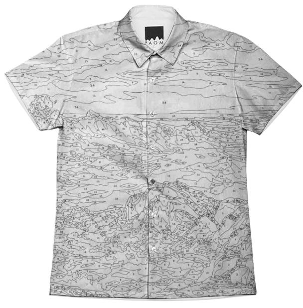 PAOM, Print All Over Me, digital print, design, fashion, style, collaboration, trey-speegle, trey speegle, Short Sleeve Workshirt, Short-Sleeve-Workshirt, ShortSleeveWorkshirt, See, The, Sea, Black, White, spring summer, unisex, Cotton, Tops