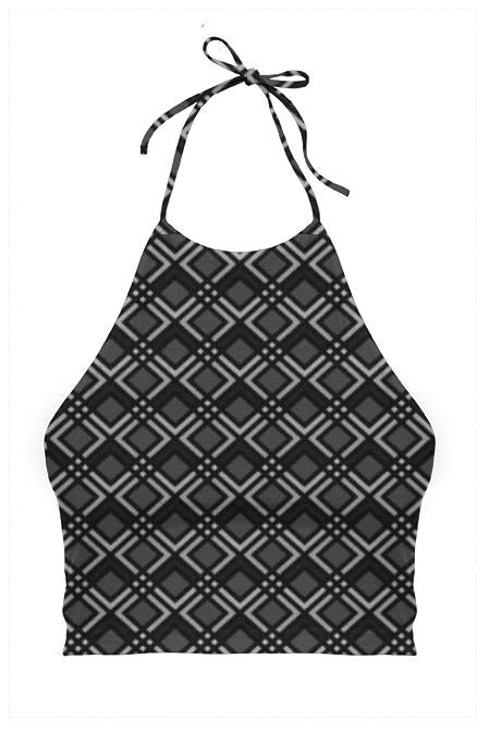Black Geometric Women s Halter Top