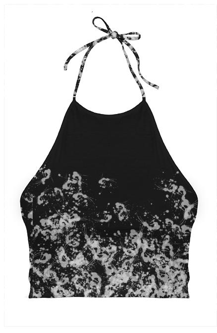 Black Paint Splatter Halter Top