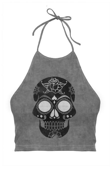 Black Grunge Sugar Skull Halter Top