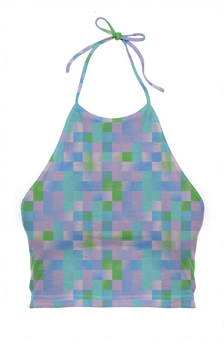 Pastel Colors Check Halter Top