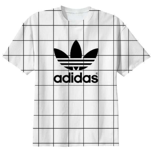Adidas black and white grid T Shirt