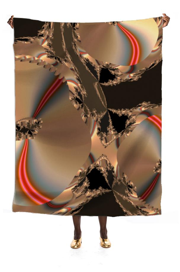 Gold and Bronze Effect Fractal VIP Silk Scarf