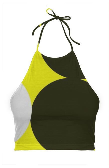 Black Yellow Polka dot Halter Top